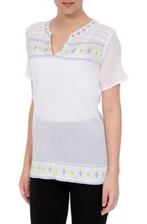 Anna Rose Embroidered Crinkle Cotton Top - White/Lime