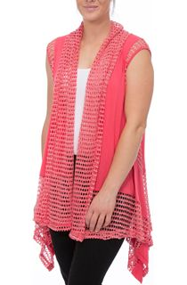 Dipped Hem Panelled Waistcoat - Bright Pink