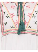 Embroidered Tassel Tie Top