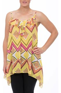 Strappy Printed Georgette Hanky Hem Top