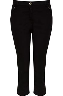 Cropped Stretch Jeans - Black