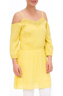 Cold Shoulder Lace Trim Tunic - Grapefruit