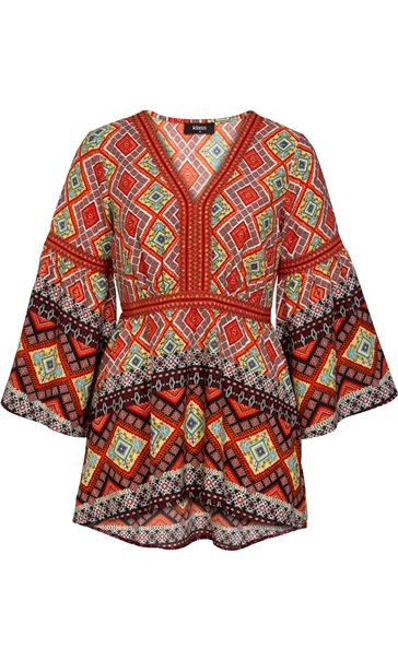 Printed Fluted Sleeve Tunic