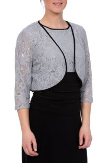 Three Quarter Sleeve Short Lace Jacket - Grey