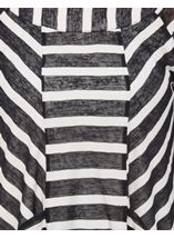 Dipped Hem Three Quarter Sleeve Striped Top