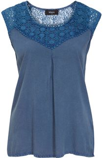 Sleeveless Washed Crochet Trim Top - Light Blue