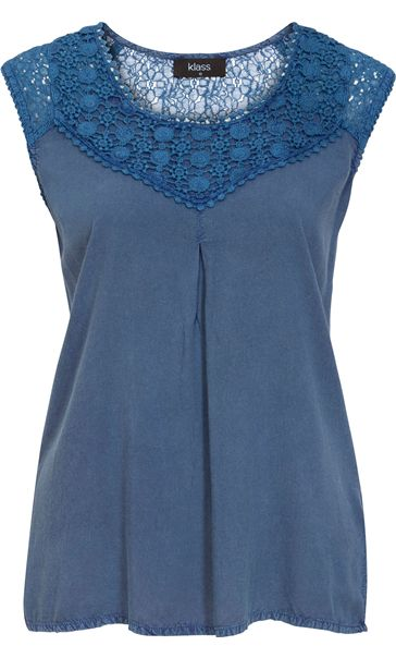 Sleeveless Washed Crochet Trim Top