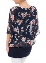 Jersey And Floral Chiffon Layered Embellished Top