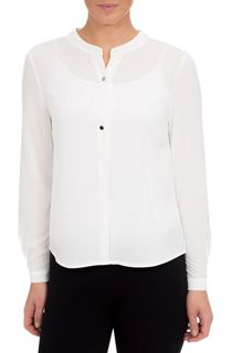 Long Sleeve Crepe Button Top