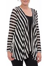 Long Sleeve Striped Open Cardigan
