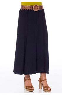 Crinkle Belted Maxi Skirt - Navy