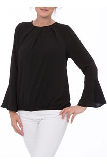 Fluted Long Sleeve Crepe Top - Black