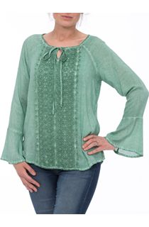 Long Bell Sleeve Crochet Trim Top