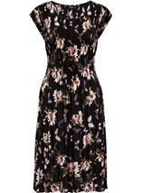 Pleat Floral Print Midi Dress