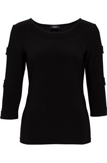 Embellished Three Quarter Ladder Sleeve Jersey Top - Black