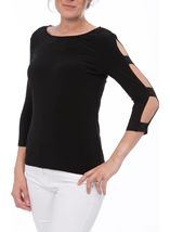Embellished Three Quarter Ladder Sleeve Jersey Top