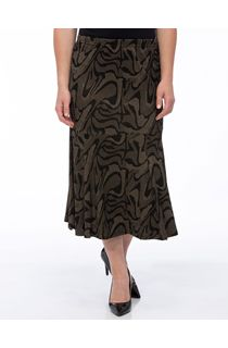 Fit And Flare Jersey Patterned Midi Skirt - Black