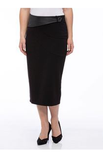 Midi Faux Leather Trim Pencil Skirt