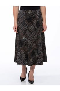Anna Rose Panelled Elasticated Midi Skirt - Brown