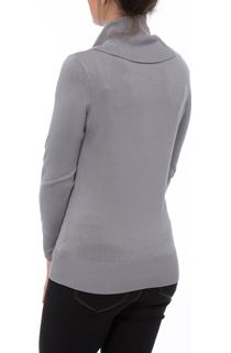 Long Sleeve Cowl Neck Knit Top - Grey
