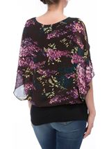 Floral Printed Chiffon And Jersey Top