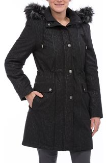 Anna Rose Embossed Coat - Black