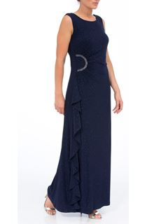 Sleeveless Glitter Maxi Dress - Blue