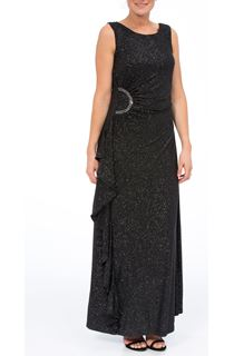 Sleeveless Glitter Maxi Dress - Black/Grey