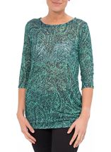 Three Quarter Sleeve Printed Knit Tunic