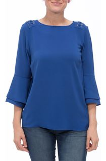 Three Quarter Bell Sleeve Top - Blue