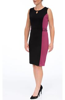 Sleeveless Contrast Panel Ponte Midi Dress