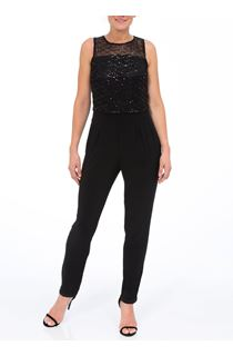 Sequin Mesh Layer Sleeveless Jumpsuit