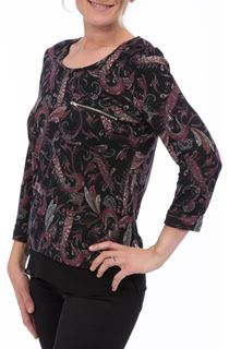Paisley Printed Brushed Three Quarter Length Sleeve Top