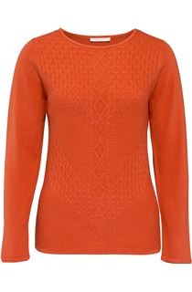 Anna Rose Cable Detail Knit Top - Red
