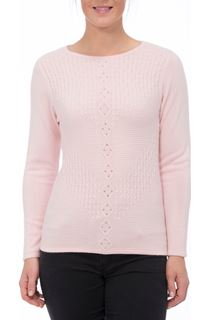 Anna Rose Cable Detail Knit Top - Pale Pink