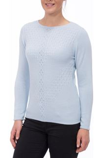 Anna Rose Cable Detail Knit Top - Sky
