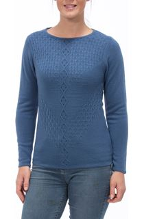Anna Rose Cable Detail Knit Top - Denim
