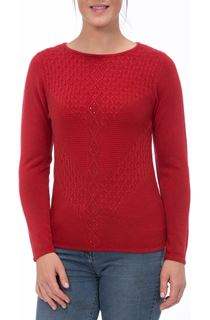 Anna Rose Cable Detail Knit Top - Ruby