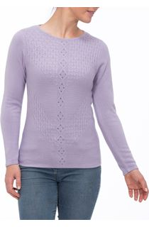Anna Rose Cable Detail Knit Top - Lilac