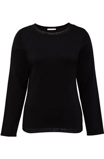 Anna Rose Beaded Neck Knit Top - Black