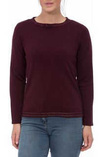 Anna Rose Beaded Neck Knit Top - Wine