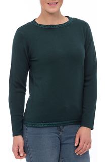 Anna Rose Beaded Neck Knit Top - Emerald