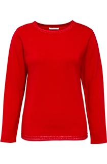 Anna Rose Beaded Neck Knit Top - Lipstick