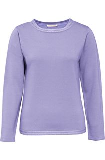 Anna Rose Beaded Neck Knit Top - Lavender