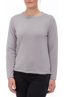 Anna Rose Beaded Neck Knit Top - Smoke