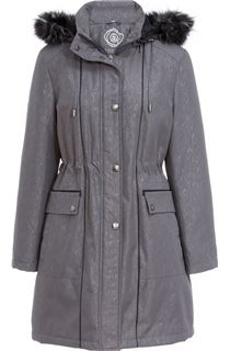 Anna Rose Faux Fur Trim Embossed Coat - Blue