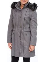 Anna Rose Faux Fur Trim Embossed Coat