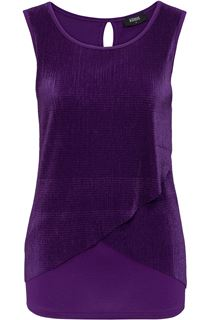 Layered Pleat And Jersey Top - Purple