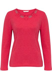 Anna Rose Long Sleeve Embellished Top - Red