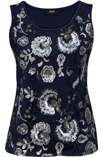Floral Sequin And Lace Sleeveless Top - Navy/Silver